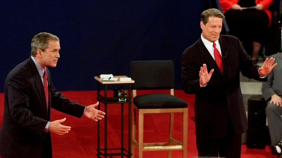 George W. Bush and Al Gore on Oct. 17, 2000. Source: Reuters/Jeff Mitchell