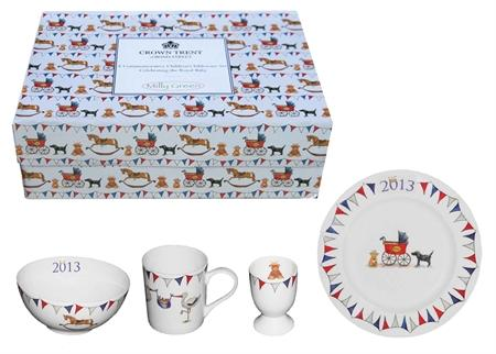 UK designer Milly Green created the Royal Baby Fine Bone China Tableware Set for kids.
