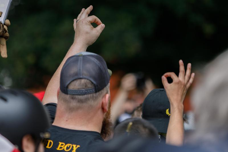"A member of the far-right group ""Proud Boys"" (JOHN RUDOFF/AFP/Getty Images)"