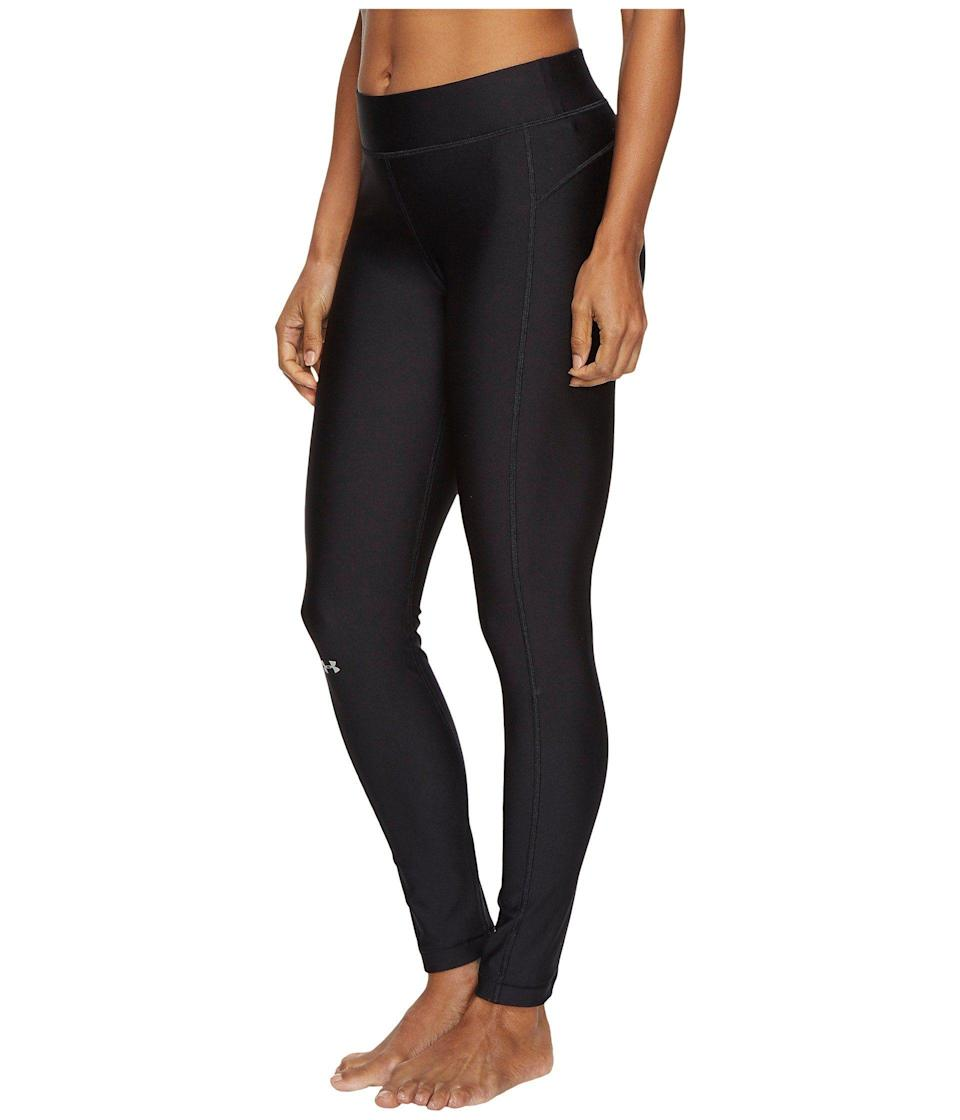 """<p><strong>Under Armour</strong></p><p>amazon.com</p><p><strong>$26.97</strong></p><p><a href=""""https://www.amazon.com/dp/B0711M182D?tag=syn-yahoo-20&ascsubtag=%5Bartid%7C10055.g.32884290%5Bsrc%7Cyahoo-us"""" rel=""""nofollow noopener"""" target=""""_blank"""" data-ylk=""""slk:Shop Now"""" class=""""link rapid-noclick-resp"""">Shop Now</a></p><p>Perfect for any exercise that involves lots of sweat and movement, <strong>these leggings are smooth and moisture wicking to help reduce friction. </strong>They're also more compressive than other workout leggings, which can help with muscle fatigue from high-intensity exercise. We're also big fans of the brand's <a href=""""https://www.amazon.com/dp/B00R6RW6WA?tag=syn-yahoo-20&ascsubtag=%5Bartid%7C10055.g.32884290%5Bsrc%7Cyahoo-us"""" rel=""""nofollow noopener"""" target=""""_blank"""" data-ylk=""""slk:ColdGear leggings"""" class=""""link rapid-noclick-resp"""">ColdGear leggings</a>, which are <a href=""""https://www.goodhousekeeping.com/clothing/g28649051/fleece-lined-leggings/"""" rel=""""nofollow noopener"""" target=""""_blank"""" data-ylk=""""slk:fleece-lined"""" class=""""link rapid-noclick-resp"""">fleece-lined</a> for cooler weather, yet still breathable for running.</p>"""
