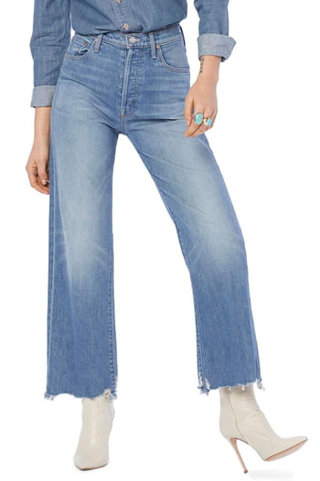 """<p>These <a href=""""https://www.popsugar.com/buy/Mother-Rambler-Ankle-Jeans-512478?p_name=Mother%20Rambler%20Ankle%20Jeans&retailer=nordstromrack.com&pid=512478&price=100&evar1=fab%3Aus&evar9=46859092&evar98=https%3A%2F%2Fwww.popsugar.com%2Ffashion%2Fphoto-gallery%2F46859092%2Fimage%2F46859094%2FMother-Rambler-Ankle-Jeans&list1=shopping%2Cnordstrom%2Cjeans%2Csale%2Cproducts%20under%20%24100%2Csale%20shopping%2Cnordstrom%20rack&prop13=mobile&pdata=1"""" rel=""""nofollow"""" data-shoppable-link=""""1"""" target=""""_blank"""" class=""""ga-track"""" data-ga-category=""""Related"""" data-ga-label=""""https://www.nordstromrack.com/shop/product/2762058/mother-rambler-ankle-jeans-high-as-the-heavens?color=POST%20NO%20BILLS"""" data-ga-action=""""In-Line Links"""">Mother Rambler Ankle Jeans</a> ($100, originally $248) are so on trend and over $100 off!</p>"""