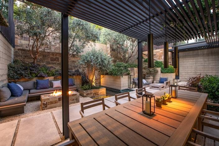 """<div class=""""caption""""> An outdoor seating area in a Marin County, California, home now on the market for nearly $30 million. </div> <cite class=""""credit"""">Photo: Matt McCourtney</cite>"""