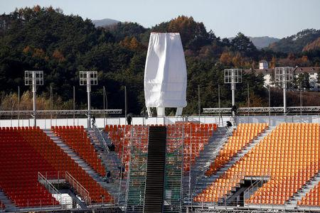 FILE PHOTO: The Olympic Plaza, the venue for the opening and closing ceremony of the PyeongChang 2018 Winter Olympic Games, is seen in Pyeongchang, South Korea, October 30, 2017.  REUTERS/Kim Hong-Ji/File Photo