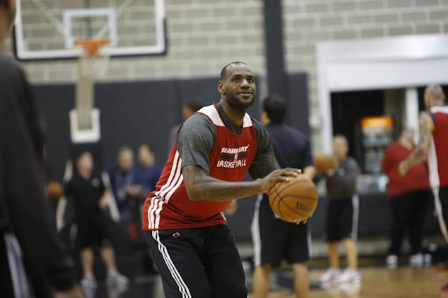 SAN ANTONIO, TX - JUNE 7: LeBron James #6 of the Miami Heat shoots during practice and media availability as part of the 2014 NBA Finals on June 7, 2014 at the Spurs Practice Facility in San Antonio, Texas. (Photo by Joe Murphy/NBAE via Getty Images)