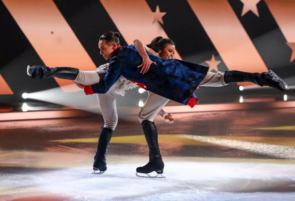 Editorial use only  Mandatory Credit: Photo by Matt Frost/ITV/Shutterstock (11736470fp)  Joe Warren-Plant and Vanessa Bauer  'Dancing On Ice' TV show, Series 13, Episode 3, Hertfordshire, UK - 31 Jan 2021