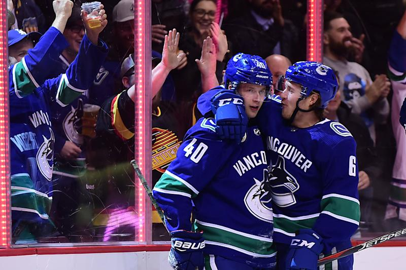 Vancouver Canucks star Elias Pettersson is waiting to lobby Brock Boeser to sign a new contract ahead of the 2019-20 season. (Anne-Marie Sorvin-USA TODAY Sports)