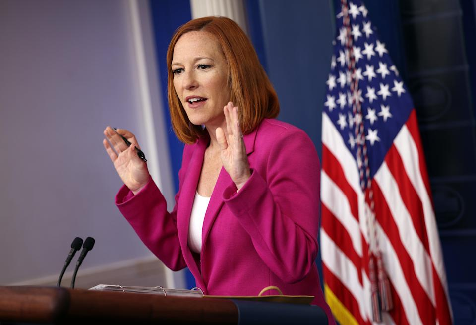 White House Press Secretary Jen Psaki holds a press briefing at the White House on 22 June, 2021 in Washington, DC, where she defended President Joe Biden's record on speaking out in support of voting rights legislation. (Getty Images)
