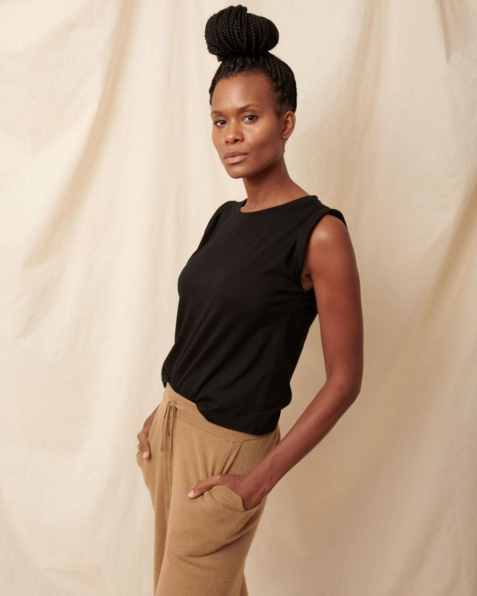 """<p>""""A great-fitting T-shirt and denim is the basis for much of my wardrobe. I'm always searching for the perfect tee. I recently tried this <span>All Year Muscle Tee</span> ($65) from PerfectDD, a new sustainable brand that creates tees based on your bra size. It eliminates the need to size up, and you can get a perfect fit every time."""" - DAC</p>"""
