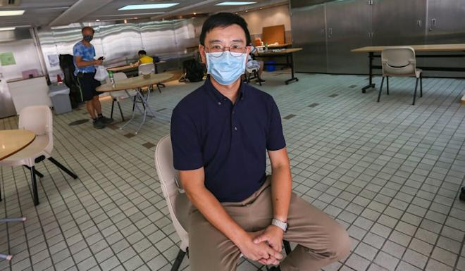 Jerome Lai, minister at Hong Kong Baptist Church, says they have implemented strict social-distancing measures in a facility set up in Mid-Levels where workers can gather to have lunch. Photo: Jonathan Wong