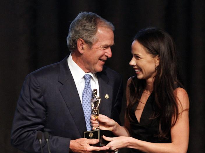 George W. Bush and his daughter Barbara Bush at the 2015 Father of the Year Luncheon Awards in 2015.