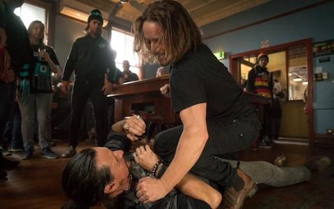 Not so Lucky? TIm Minchin's character gets involved in a bar-room brawl - Credit: Matt Nettheim/Lingo Pictures