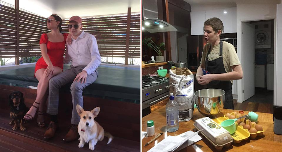 Left, Josh is seen dressed up with his sister Caitlyn for their flight to Darwin. Right, Josh is seen cooking, which he loves, in the kitchen. Source: supplied