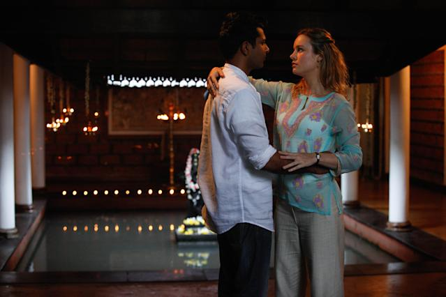 Utkarsh Ambudkar and Brie Larson in <em>Basmati Blues</em>. (Photo: Shout! Studios)