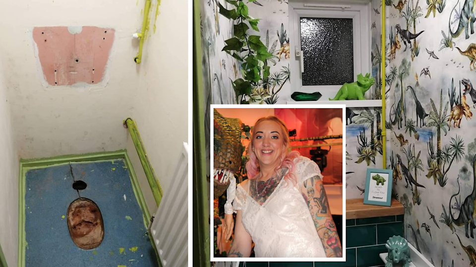 A woman has revealed her impressive dinosaur toilet transformation. (Supplied Latestdeals.co.uk)