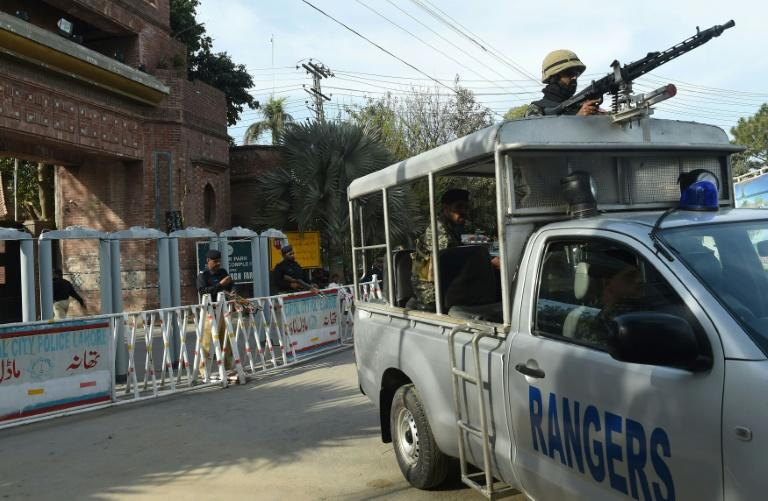 Paramilitary forces are deployed outside the Gaddafi Cricket Stadium in Lahore ahead of the Pakistan Super League final