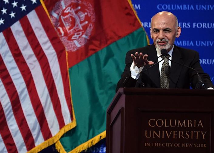 Afghanistan's President Ashraf Ghani speaks at Columbia University in New York, during his visit to the US, on March 26, 2015 (AFP Photo/Timothy A. Clary)