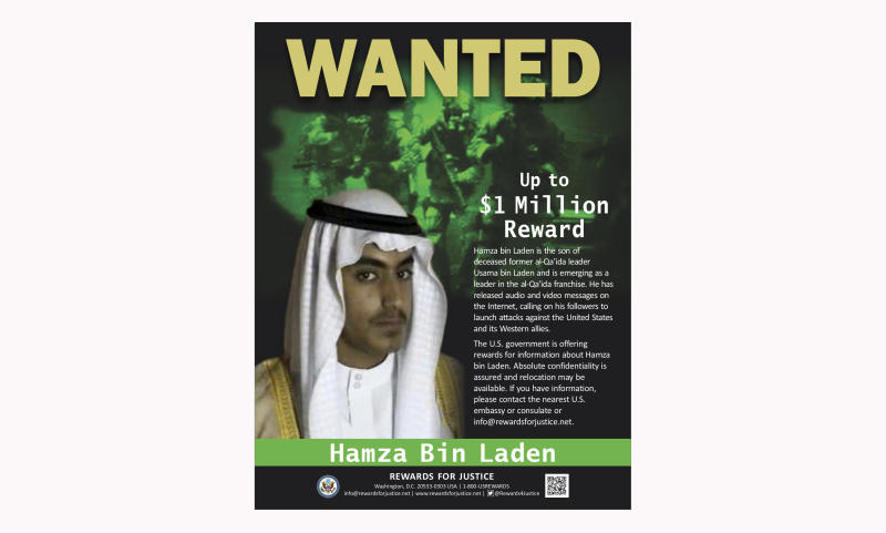 This wanted poster released by the U.S. Department of State Rewards for Justice program shows Hamza bin Laden. Years after the death of his father at the hands of a U.S. Navy SEAL raid in Pakistan, Hamza himself clearly in the crosshairs of world powers. The U.S. has put up to a $1 million bounty for him. The U.N. Security Council has named him to a global sanctions list, sparking a new Interpol notice for his arrest. His home country of Saudi Arabia has revoked his citizenship. (U.S. Department of State Rewards for Justice via AP, File)