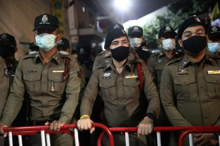Police largely kept a low profile as protests continued in defiance of a ban on gatherings of more than four people