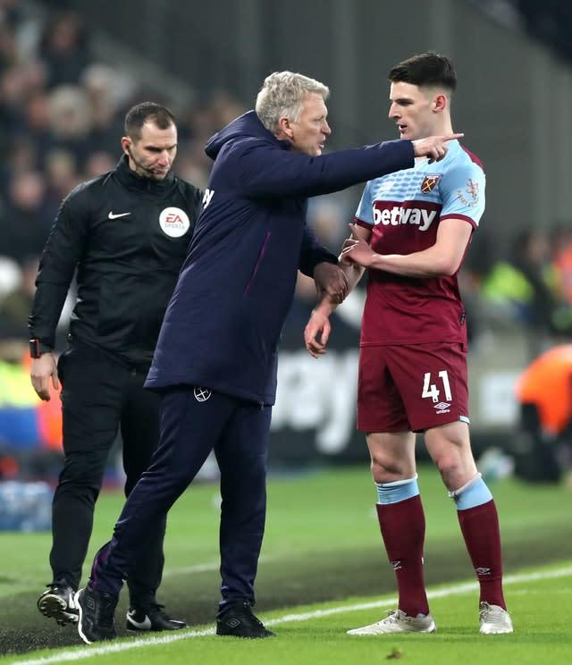 David Moyes gives instructions to Declan Rice during the win over Bournemouth (Bradley Collyer/PA)