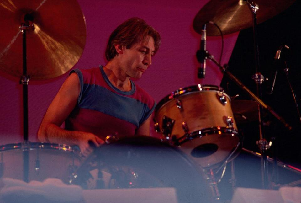 <p>Charlie Watts, on drums, of the group the Rolling Stones, performs onstage during 'The Rolling Stones American Tour 1981' (in support of their album 'Tattoo You'), at Madison Square Garden, New York, New York, November 13, 1981.</p>