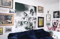 """<p>""""We're living in a rental house at the moment, so to help make it feel more personal, we've covered the walls in art,"""" says Charlotte. """"The enormous black and white print is of Gisele. It was a gift given to Angus by the legendary designer Michael Howells from a Nick Knight shoot, which was one of Angus' first ever set design jobs working with Michael. Michael died unexpectedly a couple of years ago and this gift is now more poignant than ever. He was a great man and remains one of Angus' most important sources of creative inspiration.""""</p>"""