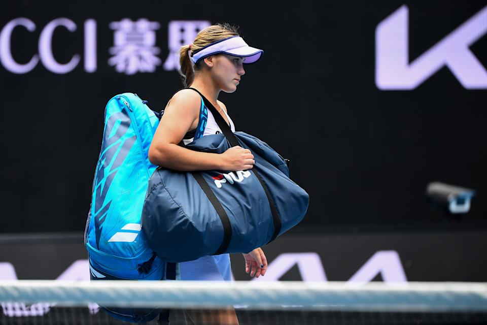 Sofia Kenin of the US leaves after losing against Estonia's Kaia Kanepi during their women's singles match on day four of the Australian Open tennis tournament in Melbourne on February 11, 2021. (Photo by William WEST / AFP) / -- IMAGE RESTRICTED TO EDITORIAL USE - STRICTLY NO COMMERCIAL USE -- (Photo by WILLIAM WEST/AFP via Getty Images)