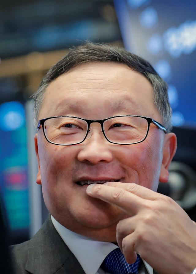 John Chen, Executive Chairman and CEO of BlackBerry Ltd, walks on the floor at the New York Stock Exchange (NYSE) in New York, U.S., October 16, 2018. REUTERS/Brendan McDermid