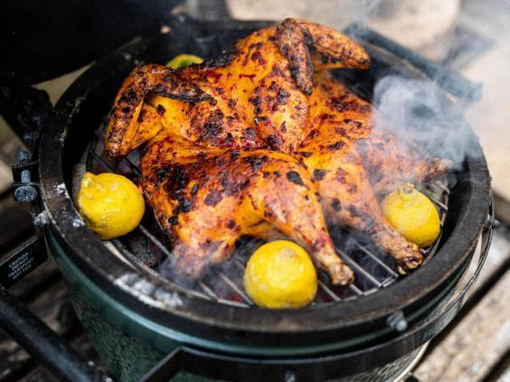 Cooking a whole chicken on a brill is easy – all you really need to do is remove its back bone (Matt Austin)