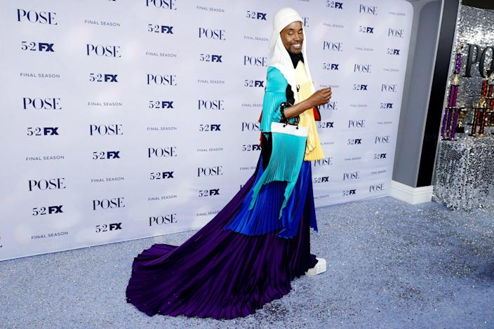 <p>Billy Porter steals the spotlight in a color-blocked ensemble at the season 3 premiere of <i>Pose</i> at Jazz at Lincoln Center in N.Y.C. on Thursday. </p>