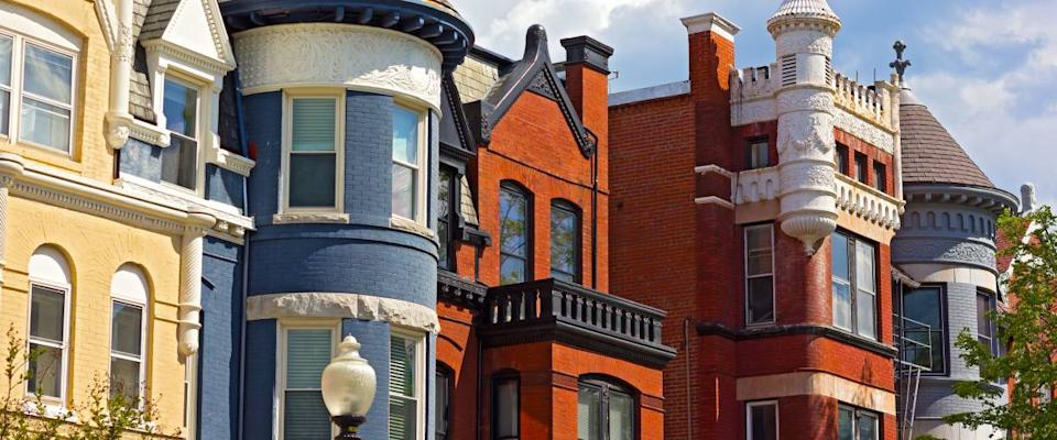 Historic residential architecture of Washington DC. Colorful townhouses near Dupont Circle in Washington DC.