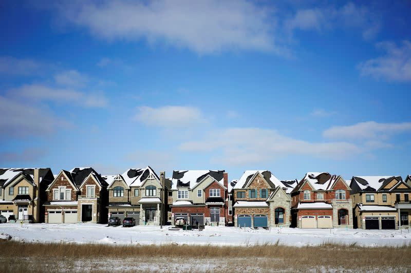 FILE PHOTO: A row of houses stand in a subdivision in East Gwillimbury, Ontario