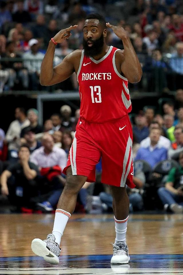 James Harden of the Houston Rockets reacts after scoring against the Dallas Mavericks, at American Airlines Center in Dallas, Texas, on January 24, 2018 (AFP Photo/TOM PENNINGTON)