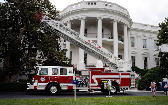 """<p>U.S.-made products from all 50 states, including a fire truck from Wisconsin-based manufacturer Pierce, are on display on the South Lawn of the White House as part of a """"Made in America"""" product showcase event in Washington, D,C., July 17, 2017. (Olivier Douliery/AFP/Getty Images) </p>"""