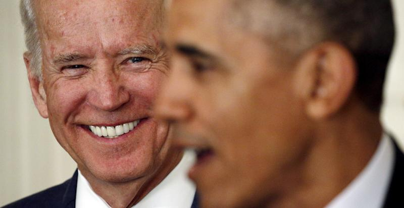 Find someone who looks at you the way Biden looks at Barack. (Kevin Lamarque / Reuters)