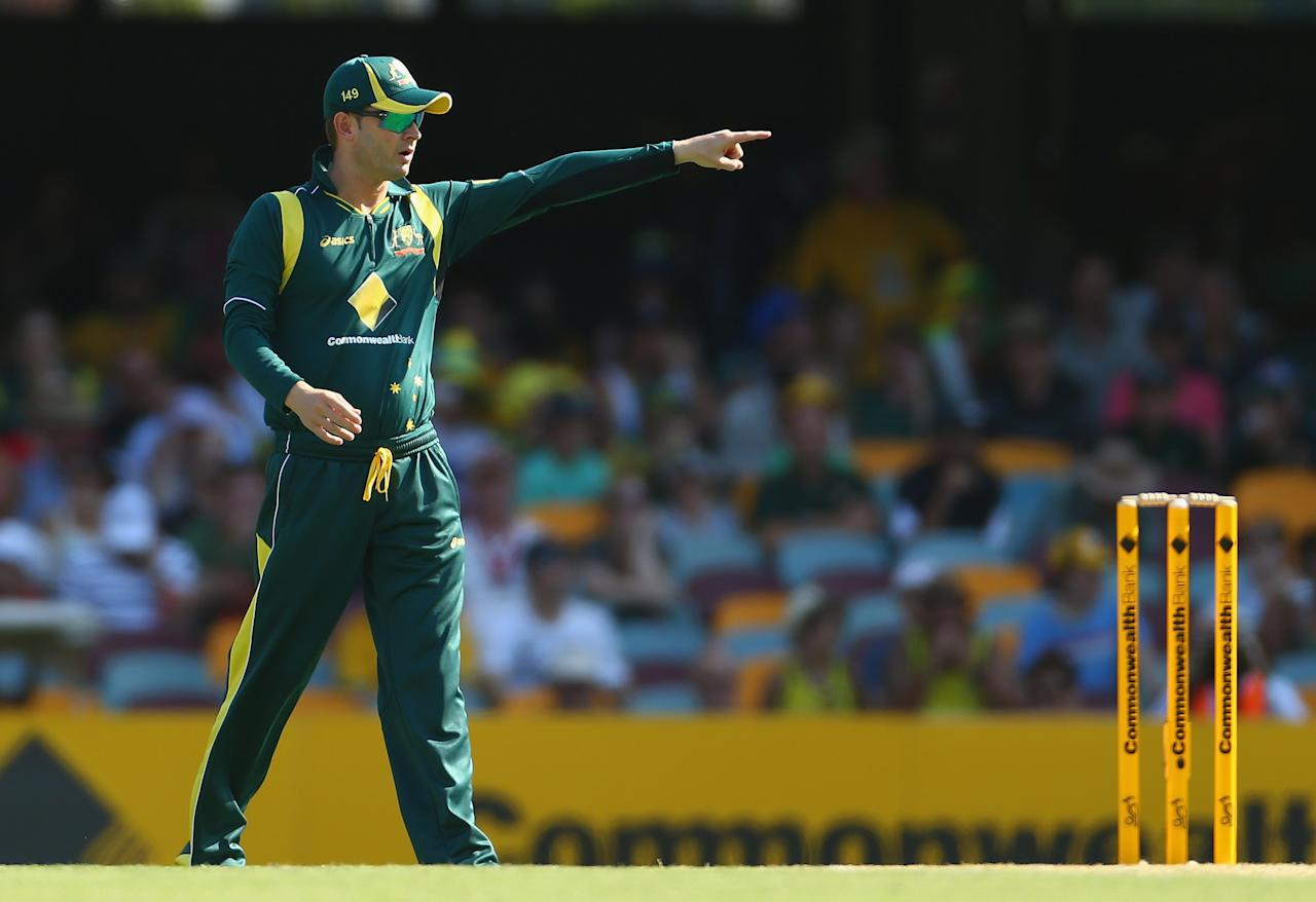 BRISBANE, AUSTRALIA - JANUARY 18: Michael Clarke of Australia gestures during game three of the Commonwealth Bank One Day International Series between Australia and Sri Lanka at The Gabba on January 18, 2013 in Brisbane, Australia.  (Photo by Robert Cianflone/Getty Images)