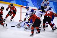 """<p>While fights are rare in <a href=""""https://www.goodhousekeeping.com/life/entertainment/g5034/strangest-olympic-rules/?slide=10"""" rel=""""nofollow noopener"""" target=""""_blank"""" data-ylk=""""slk:Olympic hockey"""" class=""""link rapid-noclick-resp"""">Olympic hockey</a>, athletes don't want to start one, but they may want to finish it. While instigators get five minutes in the penalty box, those who drop the gloves second only get two. </p>"""