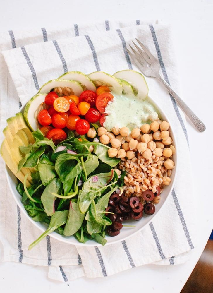 """<p>This ravishing salad is about as gorgeous as they come. With light cucumbers, hearty chickpeas, and juicy tomatoes, you'll want to eat this for every meal of the day. It makes enough for four people, so just whip up the whole batch and save what you don't eat for later.</p> <p><strong>Get the recipe:</strong> <a href=""""http://cookieandkate.com/2013/greek-farro-and-chickpea-salad-with-herbed-yogurt/"""" class=""""link rapid-noclick-resp"""" rel=""""nofollow noopener"""" target=""""_blank"""" data-ylk=""""slk:Greek chickpea, cucumber, tomato, and farro salad"""">Greek chickpea, cucumber, tomato, and farro salad</a> </p>"""