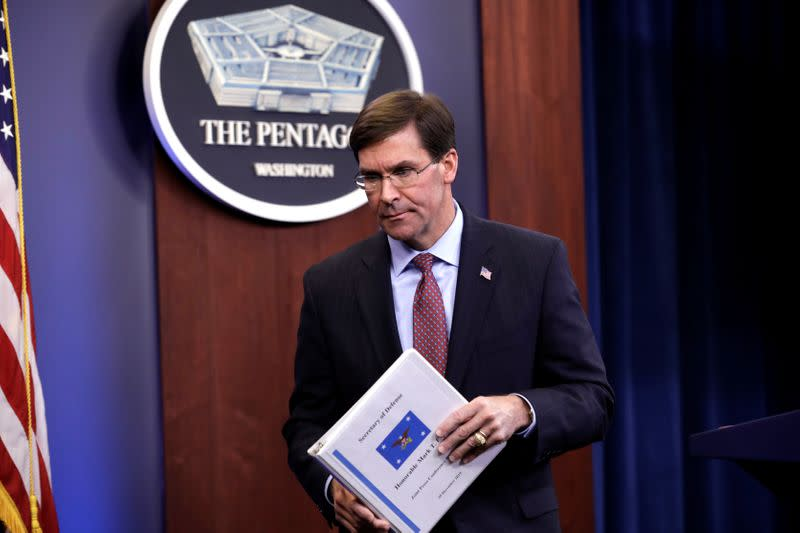 FILE PHOTO: Defense Secretary Mark Esper briefs the media at Pentagon