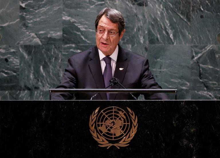 Cyprus' President Nicos Anastasiades addresses the United Nations General Assembly where he criticizes Turkey's stance on the island (AFP/JOHN ANGELILLO)