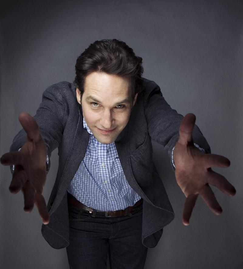 """This Aug. 21, 2012 photo shows Paul Rudd posing for a portrait at the Grace Hotel in New York. The 43-year-old star who has been on a goofy comedic tear lately with """"Our Idiot Brother,"""" """"Dinner for Schmucks,"""" """"Wanderlust"""" and TV's """"Parks and Recreation.""""  Now he is playing an evangelical Christian who basically unravels onstage in the play """"Grace,"""" which opens on Broadway on Oct. 4. (Photo by Victoria Will/Invision/AP)"""