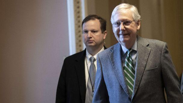 PHOTO: Senate Majority Leader Mitch McConnell walks to his office at the U.S. Capitol on Jan. 16, 2020, in Washington, D.C. (Drew Angerer/Getty Images)