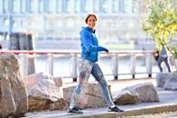 """<p>In an interview last December, the singer, actor, and mom of two told <em>Us Weekly</em> that she takes a multipronged approach to wellness. """"It's a whole rounded regimen that deals with your mind, your soul, your spirit, and your body,"""" Lopez <a rel=""""nofollow noopener"""" href=""""https://tribunecontentagency.com/article/jennifer-lopez-forever-young/"""" target=""""_blank"""" data-ylk=""""slk:said"""" class=""""link rapid-noclick-resp"""">said</a>. """"It's working out, it's dancing, it's meditating. And then, at the end of the day, just being happy, being with my kids and feeling the love and the joy that they give me. All of that helps balance it out, so work doesn't feel so crazy.""""<br>(Photo: Getty Images) </p>"""