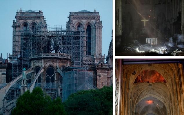 The morning after: Pictures emerge of the scale of the damage to Notre-Dame cathedral after the fire