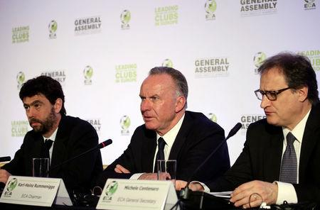 European Club Association (ECA) Chairman Karl-Heinz Rummenigge (C), board member and President of Juventus Andrea Agnelli (L) and General Secretary Michele Centenaro attend a news conference following ECA's General Assembly in Athens, Greece March 28, 2017. REUTERS/Alkis Konstantinidis