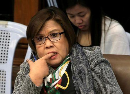 Former Justice Secretary and current Senator Leila De Lima gestures during a Senate committe hearing on Justice and Human Rights and hearing on Extra Judicial Killing at Senate headquarters in Pasay city, metro Manila