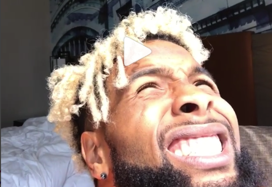 Odell Beckham made a Instagram video in which he acted (?) like he was staring into the eclipse. (Instagram/@OBJ)