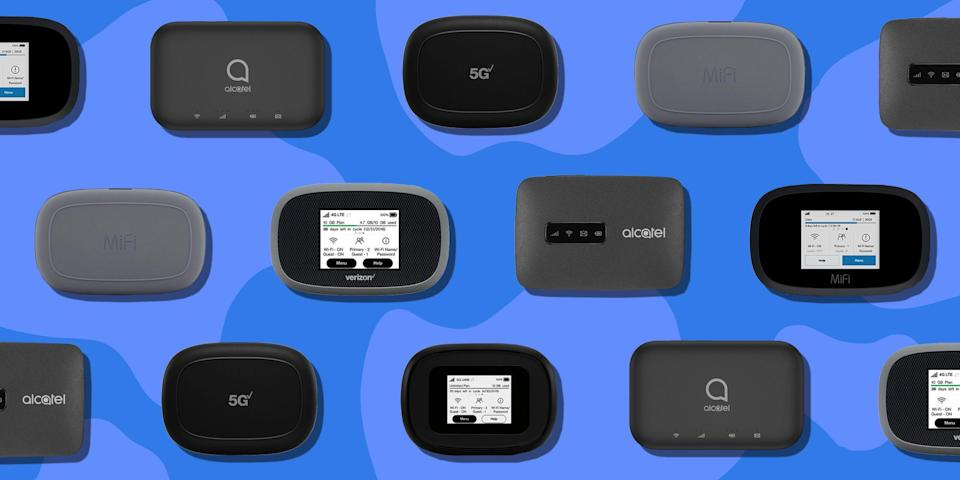 """<p>Wi-Fi hotspots offer a convenient way to keep your laptop, tablet, and all other connected devices online without draining your smartphone's battery and data plan. <br></p><p>Even though we've listed the full price of the Wi-Fi hotspots on this list, you can buy most of them in low monthly installments with a qualifying data plan. Just note that this option isn't available for our unlocked and pay-as-you-go picks.</p><h3 class=""""body-h3"""">Best Wi-Fi Hotspots</h3><ul> <li><strong>Best for Verizon Users: </strong><a href=""""https://go.redirectingat.com?id=74968X1596630&url=https%3A%2F%2Fwww.verizon.com%2Finternet-devices%2Fverizon-jetpack-mifi-8800l%2F%3Fsku%3Dsku3220058&sref=https%3A%2F%2Fwww.bestproducts.com%2Ftech%2Fgadgets%2Fg1336%2Fportable-mobile-wifi-hotspots%2F"""" rel=""""nofollow noopener"""" target=""""_blank"""" data-ylk=""""slk:Verizon Jetpack MiFi 8800L"""" class=""""link rapid-noclick-resp"""">Verizon Jetpack MiFi 8800L</a><br></li><li><strong>Best for AT&T Users</strong>: <a href=""""https://www.amazon.com/dp/B07G5KWZ3H?tag=syn-yahoo-20&ascsubtag=%5Bartid%7C2089.g.1336%5Bsrc%7Cyahoo-us"""" rel=""""nofollow noopener"""" target=""""_blank"""" data-ylk=""""slk:NETGEAR Nighthawk M1"""" class=""""link rapid-noclick-resp"""">NETGEAR Nighthawk M1</a></li><li><strong>Best 5G Hotspot: </strong><a href=""""https://go.redirectingat.com?id=74968X1596630&url=https%3A%2F%2Fwww.verizonwireless.com%2Finternet-devices%2Finseego-jetpack-5g-mifi-m1000%2F%3Fsku%3Dsku3320085%26cmp%3DKNC-C-HQ-NON-R-AW-NONE-NONE-2K0PX0-PX-ADM-71700000057185106%26cid%3De1584728584010300001%26gclid%3DCLrR7YLWqegCFTWkZQodctgL6g%26gclsrc%3Dds&sref=https%3A%2F%2Fwww.bestproducts.com%2Ftech%2Fgadgets%2Fg1336%2Fportable-mobile-wifi-hotspots%2F"""" rel=""""nofollow noopener"""" target=""""_blank"""" data-ylk=""""slk:Inseego 5G MiFi M1000 Hotspot"""" class=""""link rapid-noclick-resp"""">Inseego 5G MiFi M1000 Hotspot</a></li><li><strong>Best Budget Hotspot: </strong><a href=""""https://www.amazon.com/dp/B07791Y58K?tag=syn-yahoo-20&ascsubtag=%5Bartid%7C2089.g.1336%5Bsrc%7Cyahoo-us"""" rel=""""nof"""