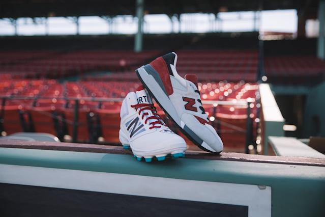 The Boston cleats and sneakers shown in Fenway Park. (New Balance)