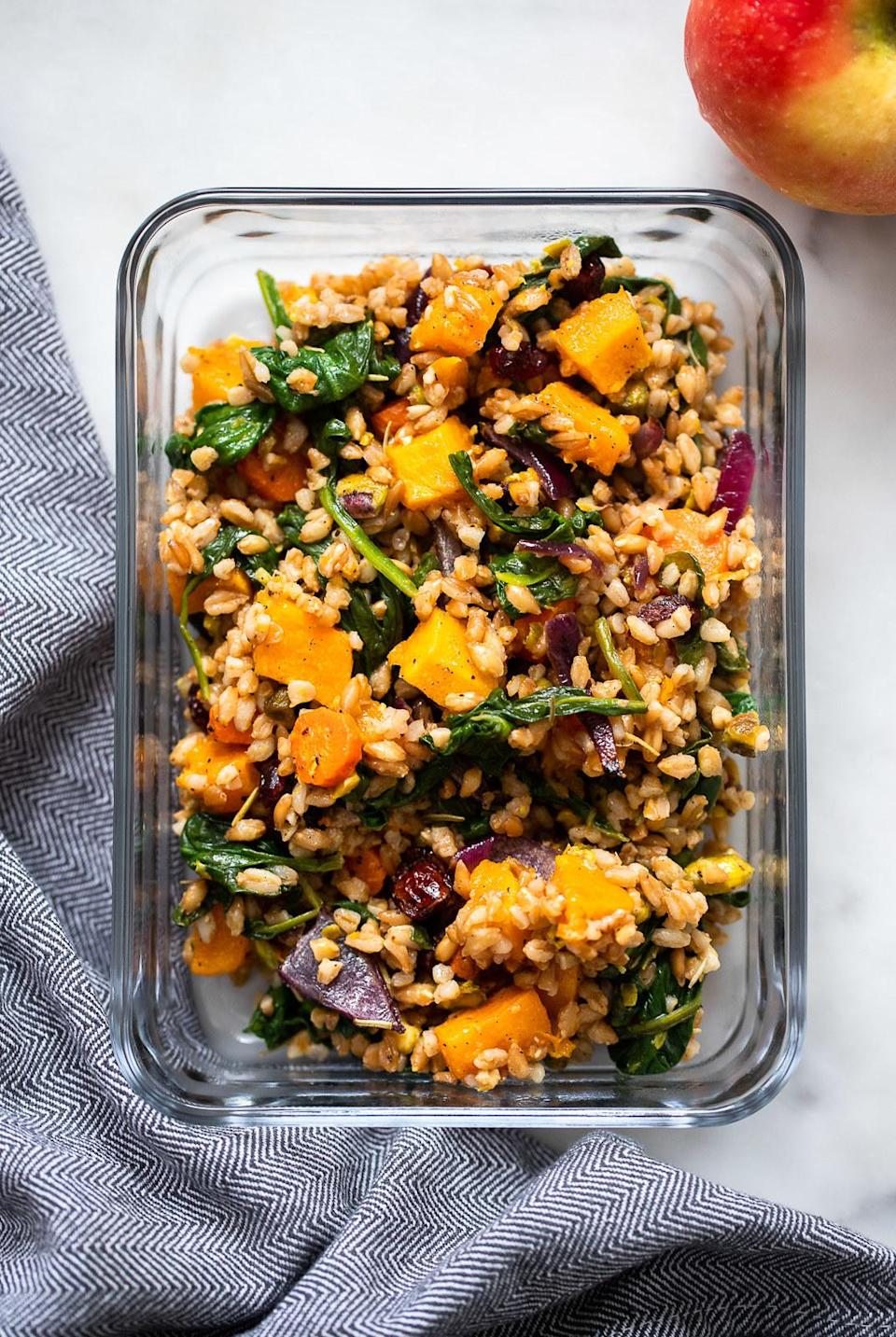 Farro salad with roasted root vegetables.
