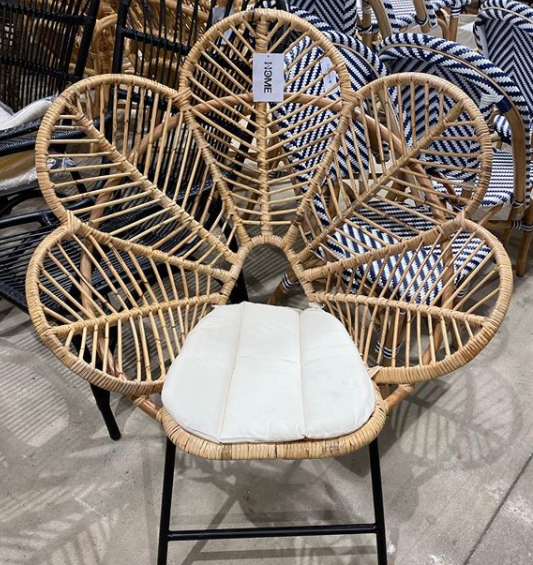 Bunnings Wicker chair with white cushion